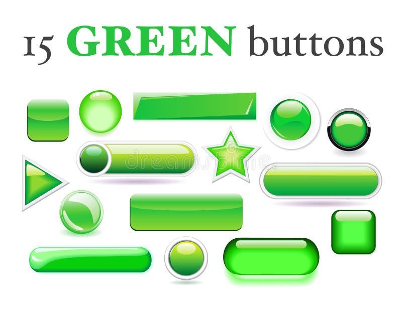 Set of 15 various green buttons stock photo