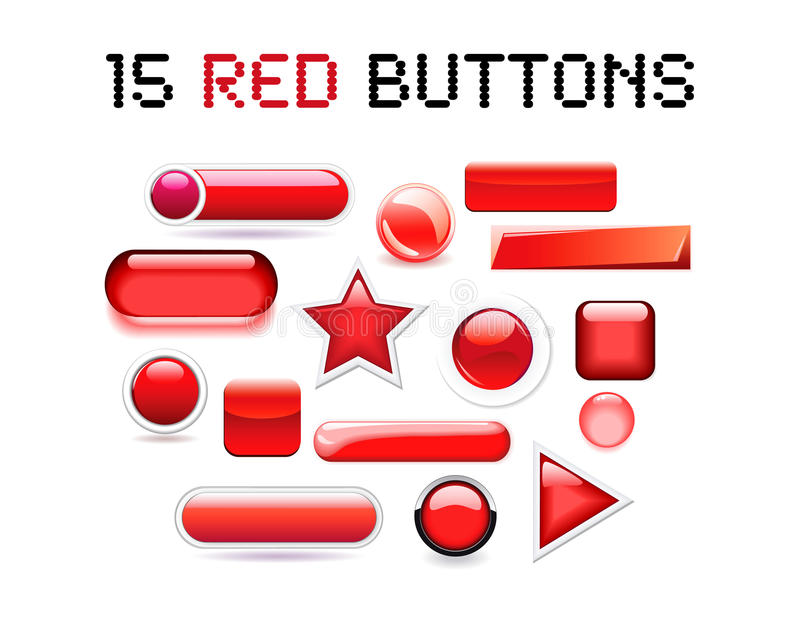 Set of 15 various red buttons in stock images