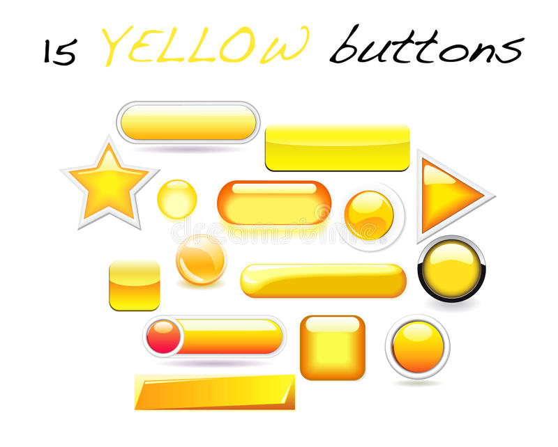 Set of 15 various yellow buttons in stock images