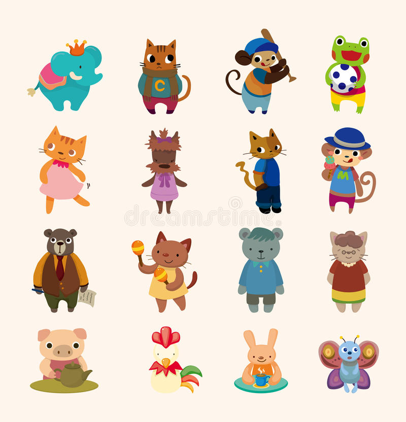 Download Set Of 16 Cute Animal Icons Stock Vector - Image: 26123702
