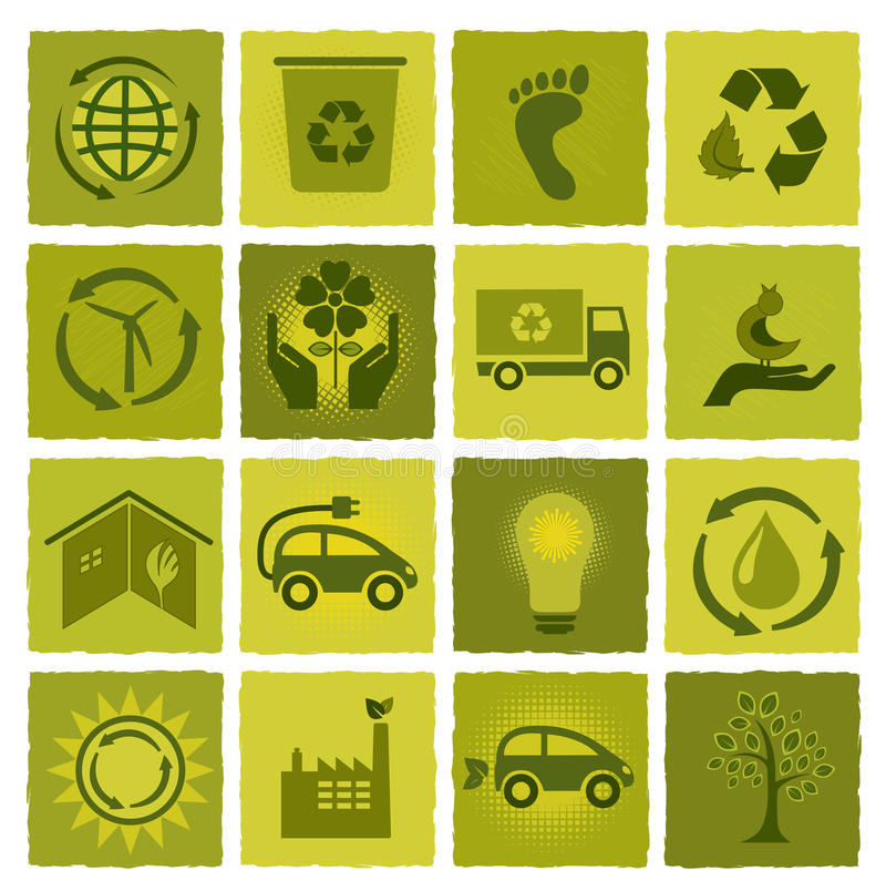 Download Set of 16 green icons stock vector. Illustration of globe - 26883605