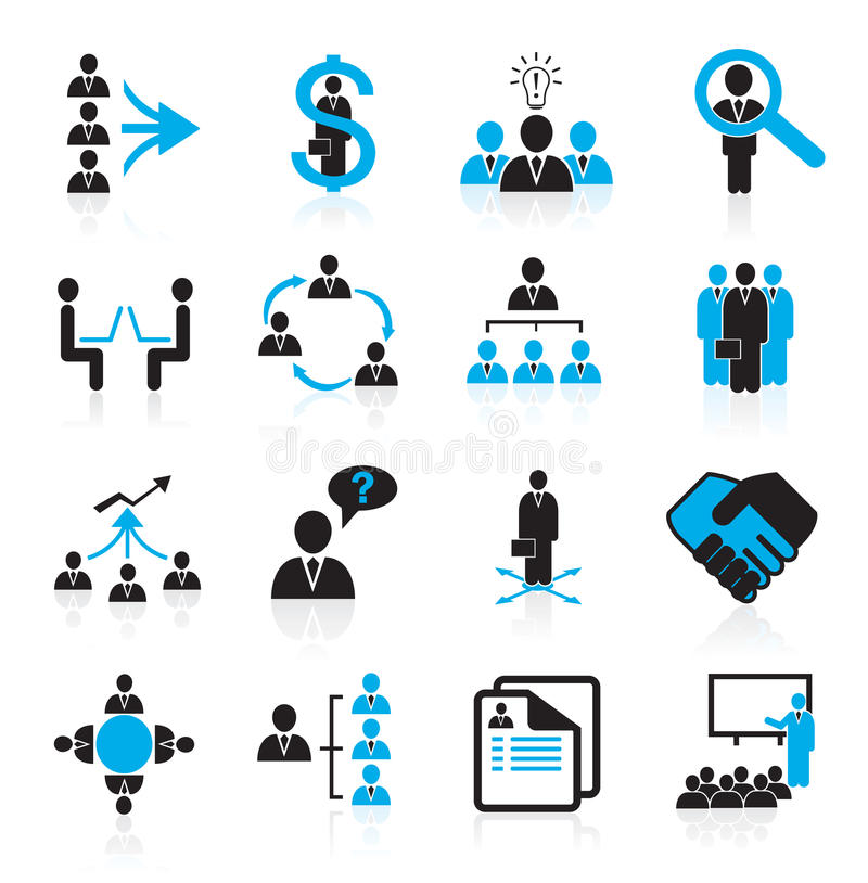 Set of 16 management and human resources icons stock illustration