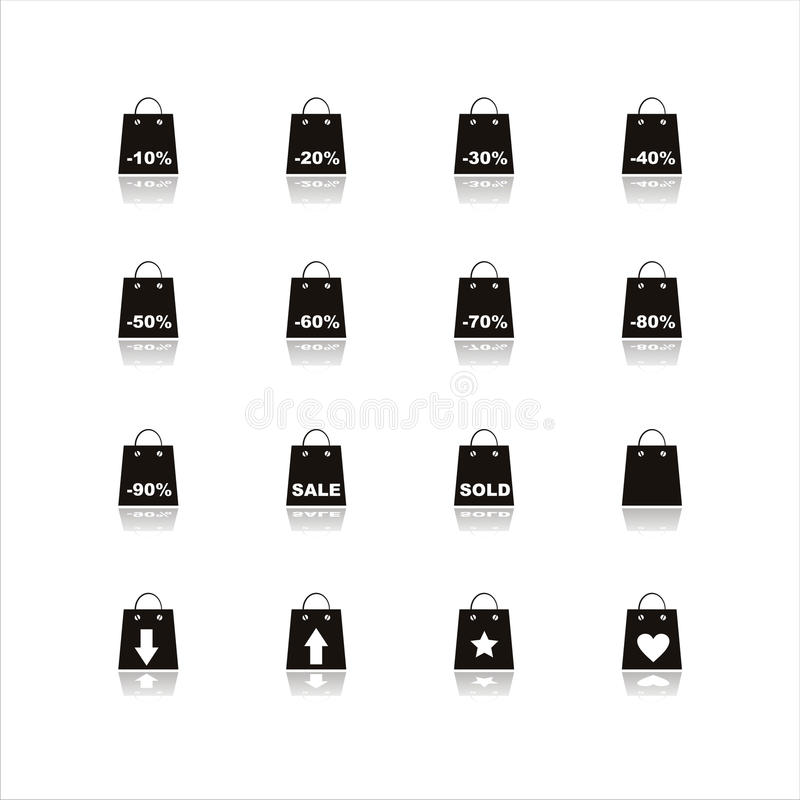 Set Of 16 Shopping Bags Icons Stock Images