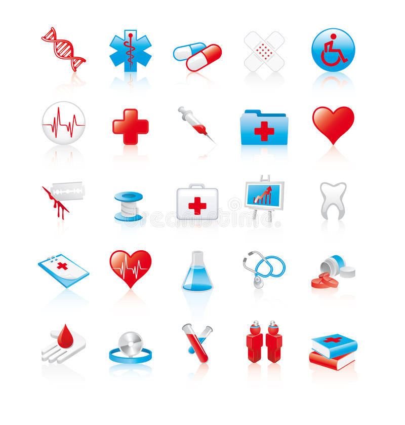 Set of 20 glossy medical icons vector illustration