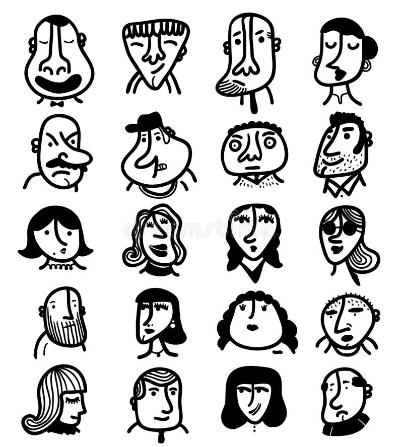 Set of 20 icon outline faces stock photo
