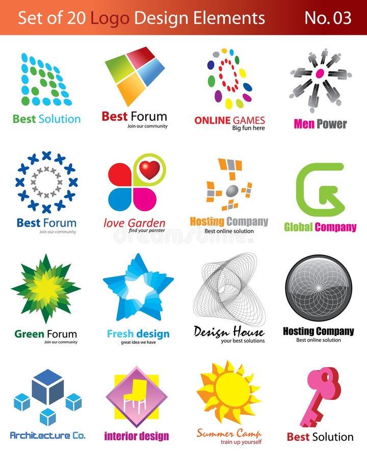 Download Set of 20 Logo Elements stock vector. Illustration of symbol - 6921803