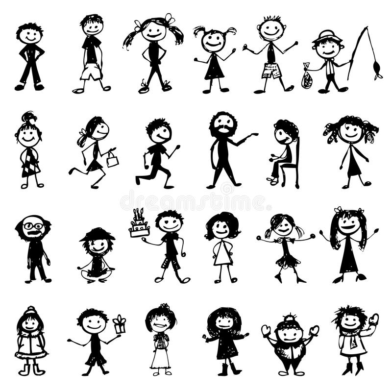 Download Set Of 24 Drawing People's For Your Design Stock Photo - Image: 21039360