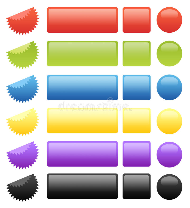 Set of 24 Glossy Buttons, Badges and Seals vector illustration