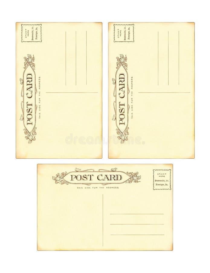 Download Set Of 3 Antique Vintage Postcard Backs Stock Illustration - Image: 23896054
