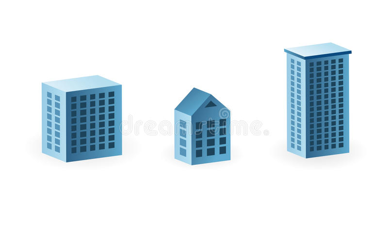 Download Set of 3 house icons stock vector. Illustration of hotel - 12492639