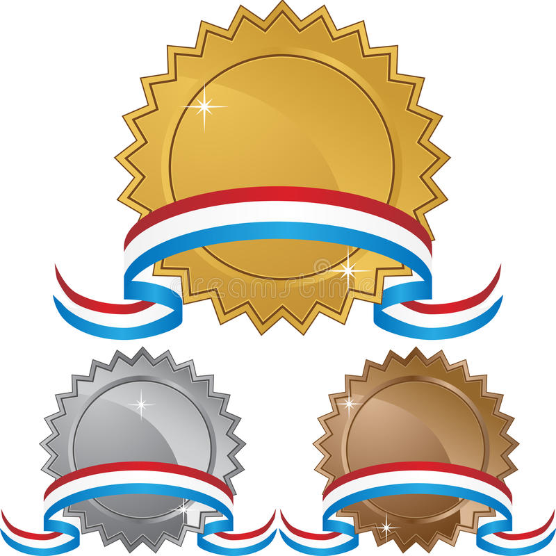 Set of 3 Labels with Ribbon vector illustration