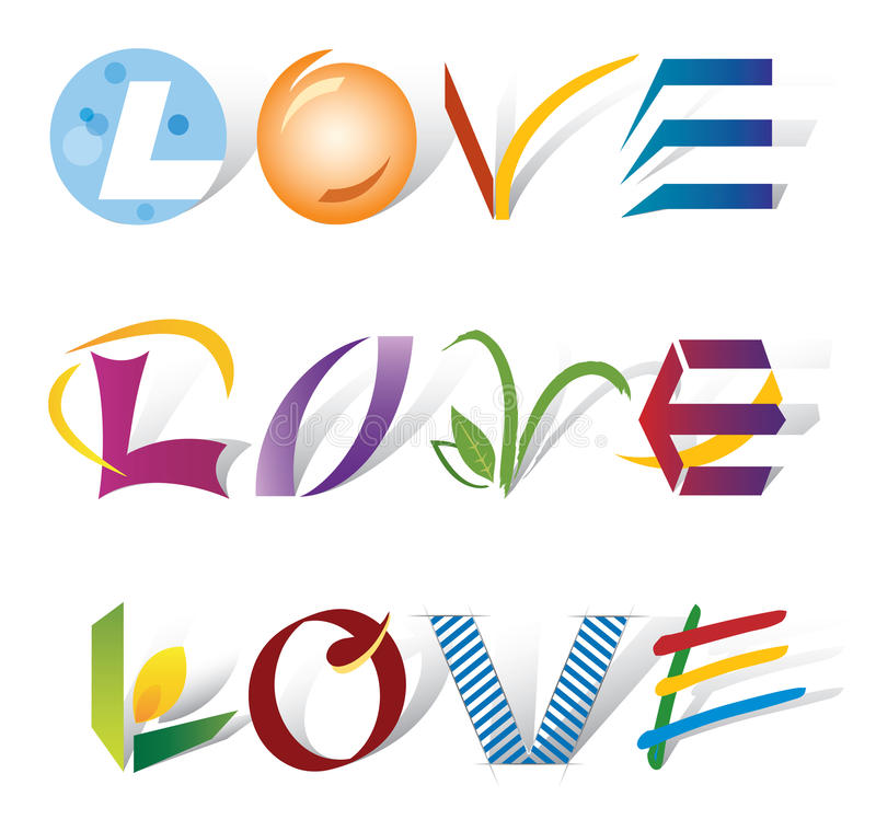 Download Set Of 3 Love Words - Various Letter Elements Stock Vector - Image: 26886086