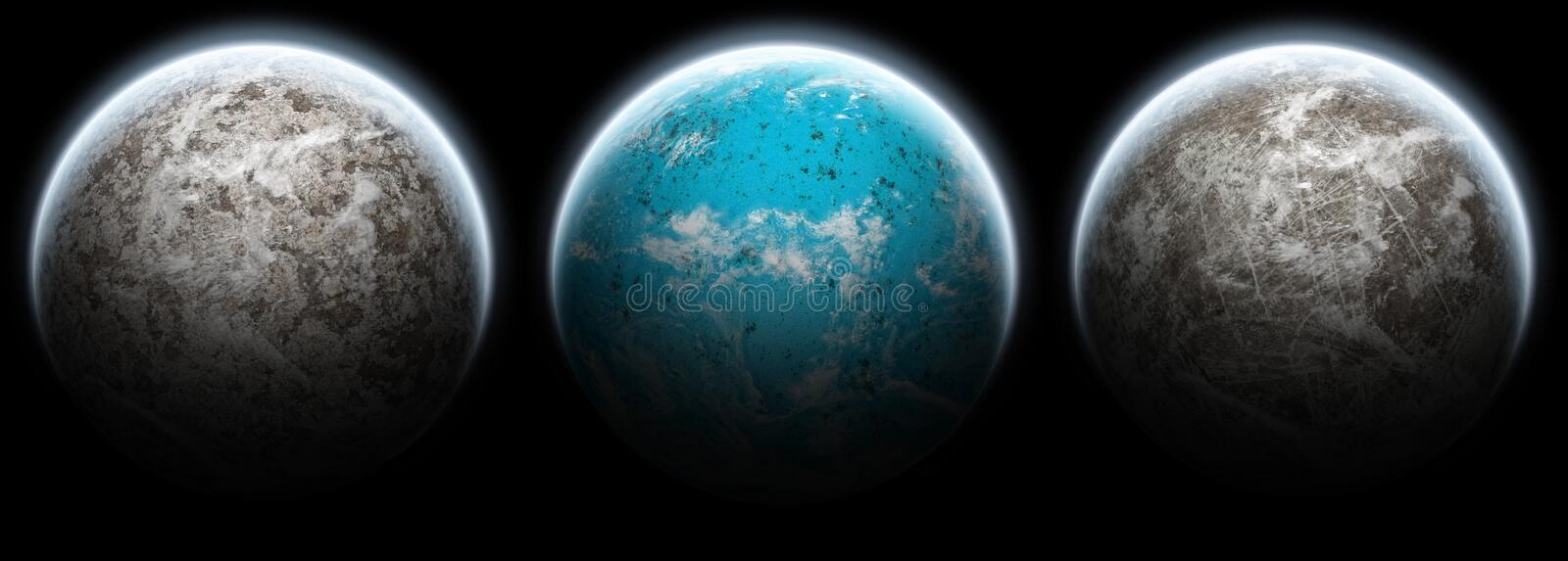 Set of 3 planets moons on a black background stock illustration