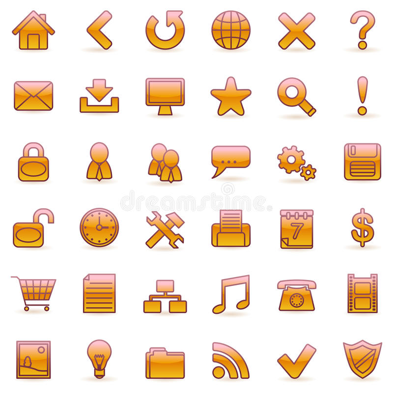 Set of 36 orange icons for Web. In the vector version of this image you can move any element, change its colour or size without any loss in quality royalty free illustration