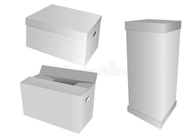 Set of 3d cardboard boxes vector illustration