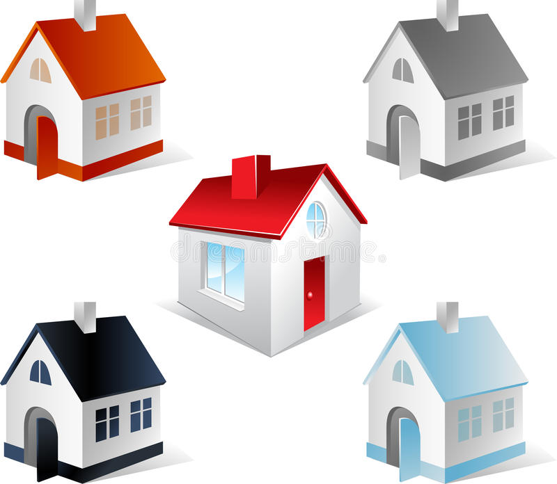 Set Of 3d Houses Stock Photography