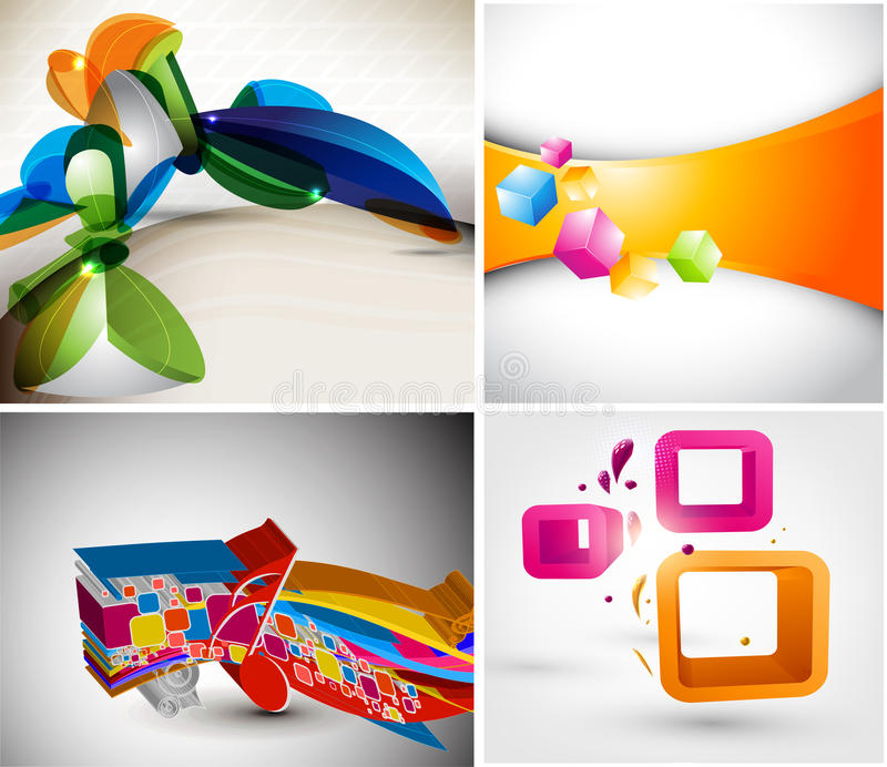 Download Set 3D layout design stock vector. Image of cover, clean - 25780893