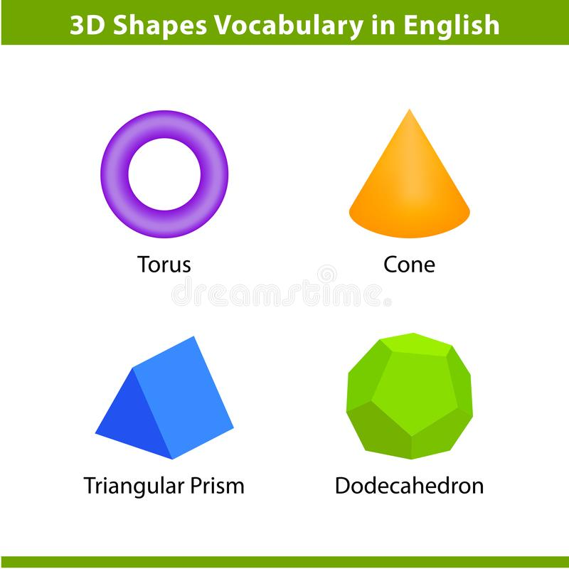 Free Set 3D Shapes Vocabulary In English With Their Name Clip Art Collection For Child Learning, Colorful Geometric Shapes Flash Card Stock Photo - 144602460