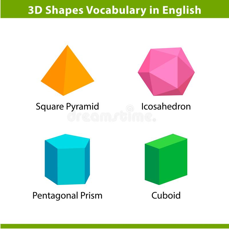 Free Set 3D Shapes Vocabulary In English With Their Name Clip Art Collection For Child Learning, Colorful Geometric Shapes Flash Card Stock Image - 144602511