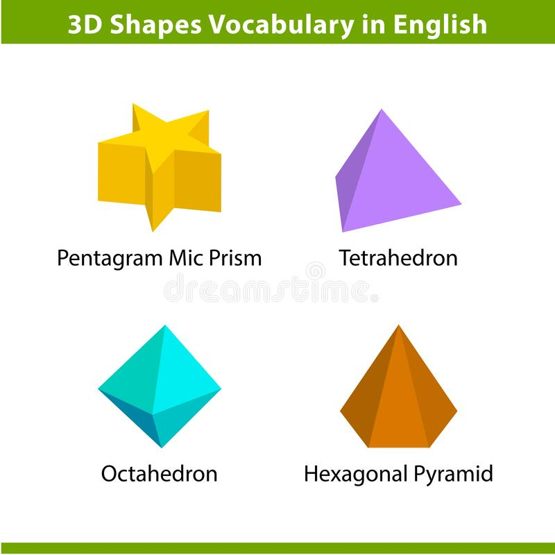 Free Set 3D Shapes Vocabulary In English With Their Name Clip Art Collection For Child Learning, Colorful Geometric Shapes Flash Card Royalty Free Stock Photography - 144602547