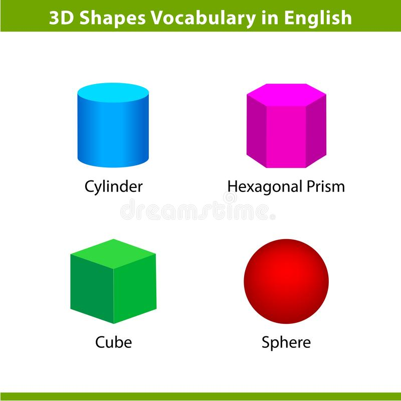 Free Set 3D Shapes Vocabulary In English With Their Name Clip Art Collection For Child Learning, Colorful Geometric Shapes Flash Card Royalty Free Stock Photos - 144602548