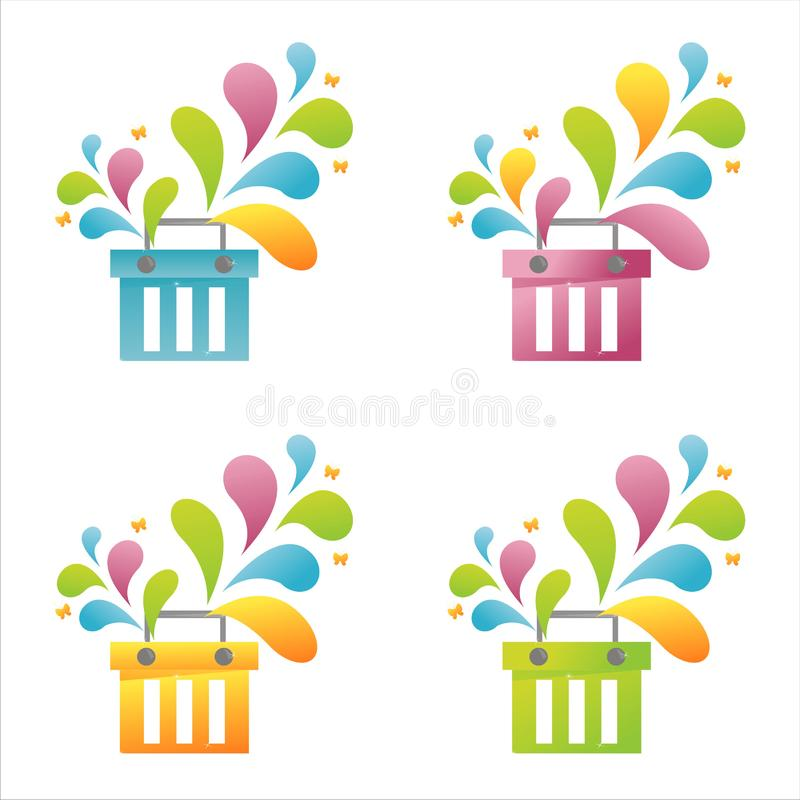 Download Set of 4 baskets stock vector. Illustration of stylish - 14418586