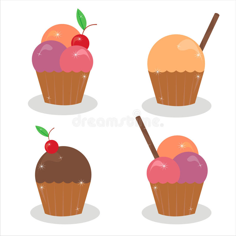 Set Of 4 Cakes Icons Stock Photo