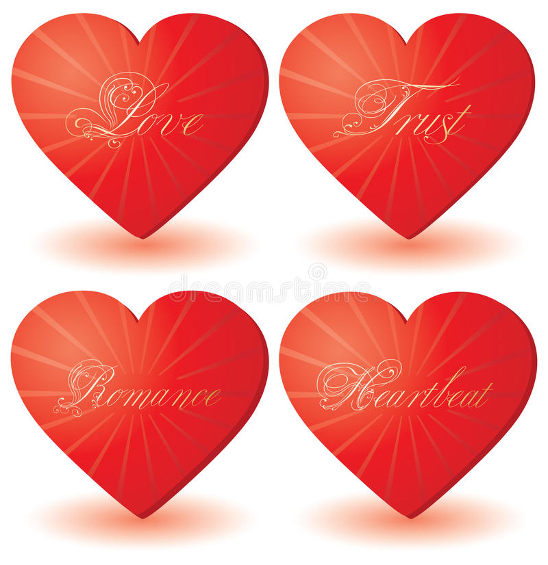 Set of 4 hearts with love words stock images
