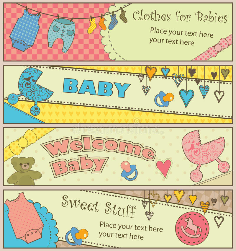 Download Set Of 4 Horizontal Baby Themed Banners Stock Photos - Image: 15015563