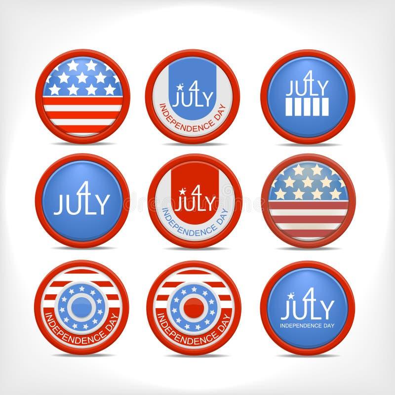 Download Set 4 July  Badge. Stock Photos - Image: 24120123