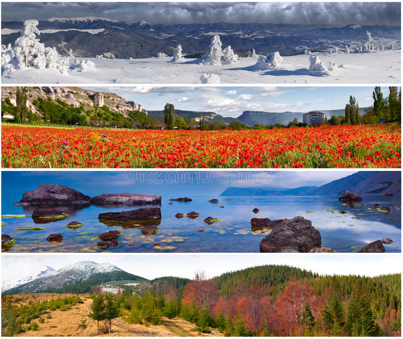 Set of the 4 seasons landscape royalty free stock images