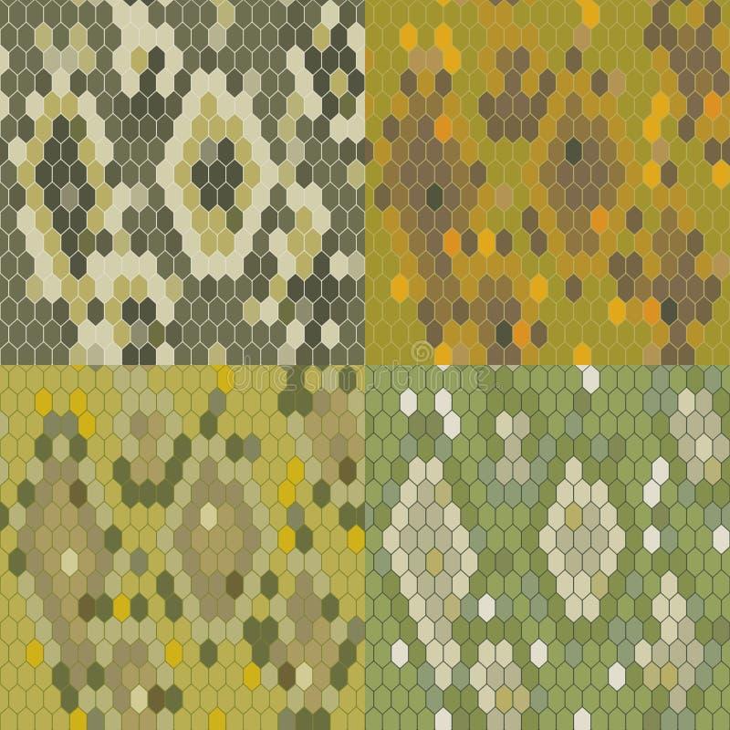 Free Set 4 Snake Skin Texture. Seamless Pattern Python. Vector Royalty Free Stock Images - 49077509