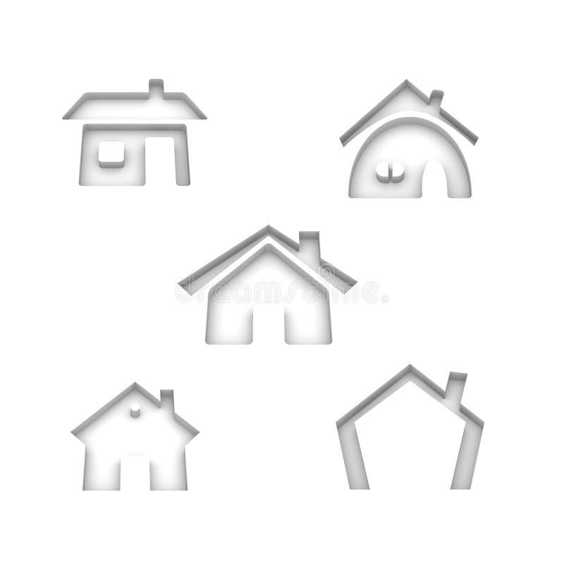 Set Of 5 House Icons Royalty Free Stock Photo