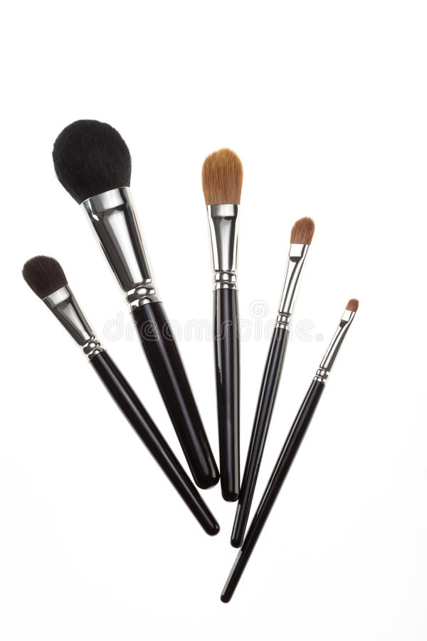 A set of 5 make-up brushes. royalty free stock photography