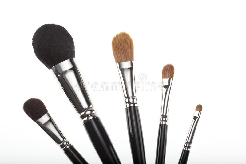 A set of 5 make-up brushes in a fan composition. stock photography