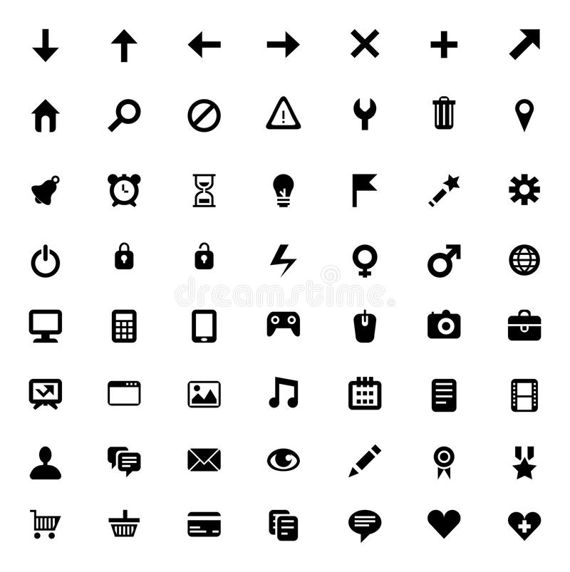 Download Set of 56  icons stock vector. Image of control, isolated - 25486552