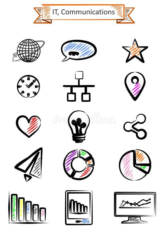 Download IT set ilustracja wektor. Ilustracja złożonej z emblemat - 57657720