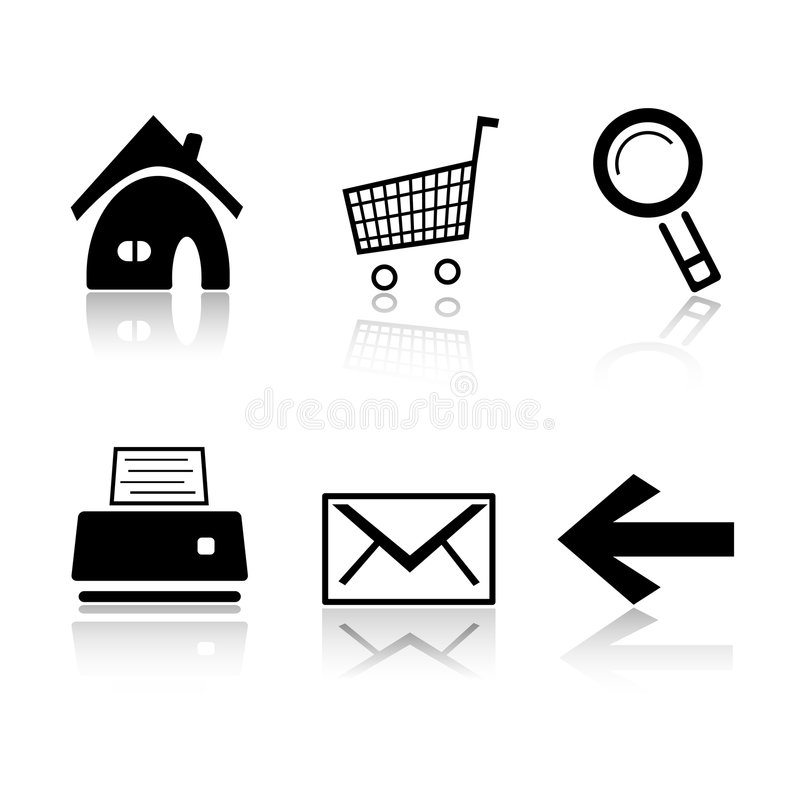 Set of 6 black and white icons stock illustration