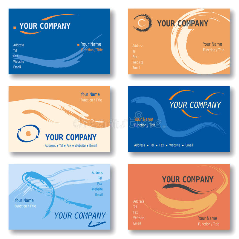 Set of 6 Business Cards in Orange and Blue Vector Illustration