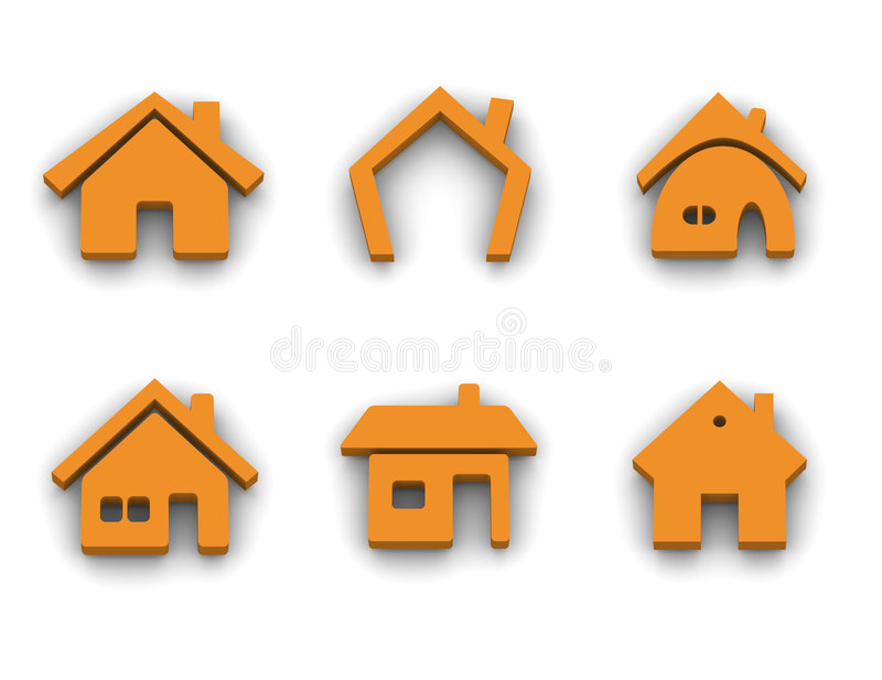 Set of 6 house icons vector illustration