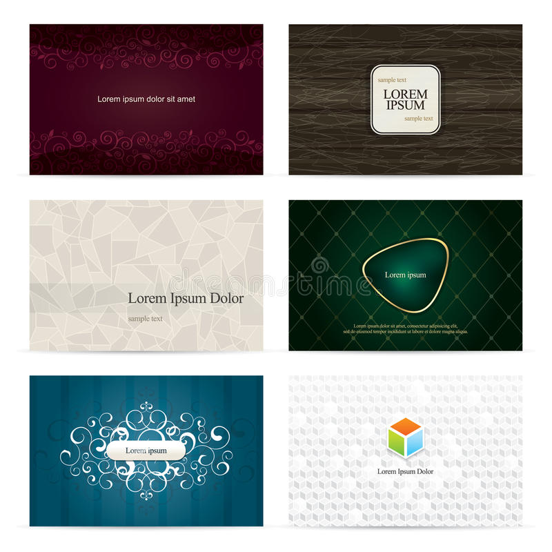 Set of 6 vertical business cards. With trendy backdrops stock illustration