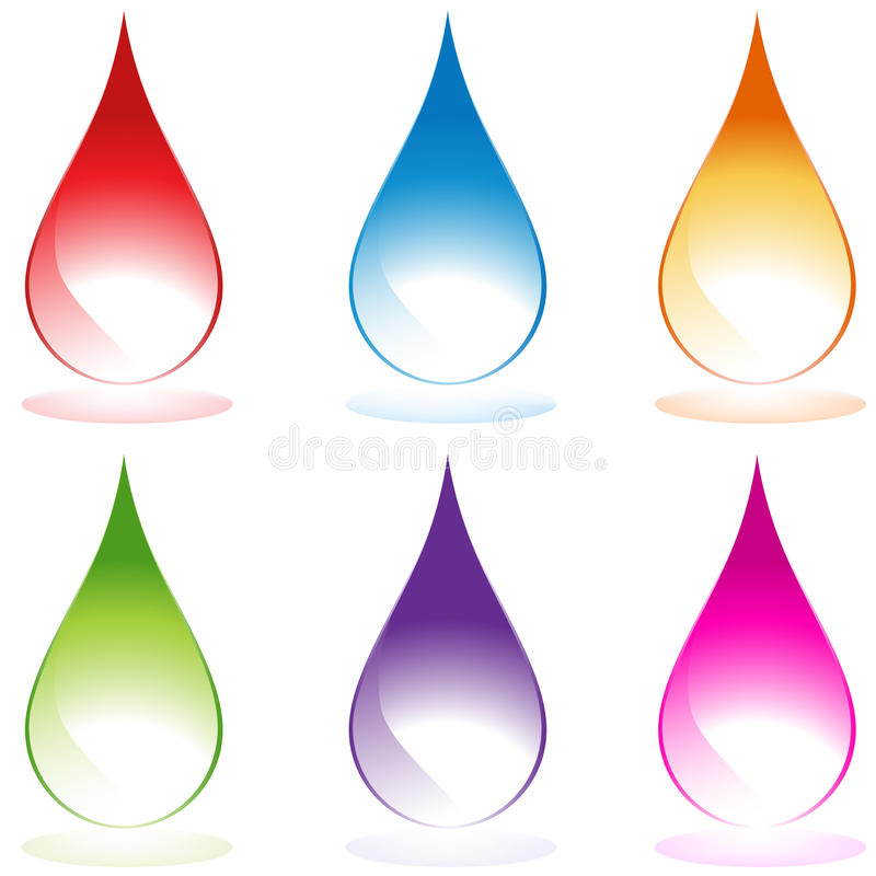 Set of 6 Water Droplets royalty free illustration