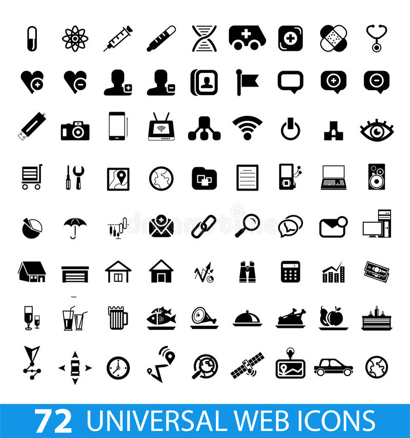 Set Of 72 Universal Web Icons Royalty Free Stock Images