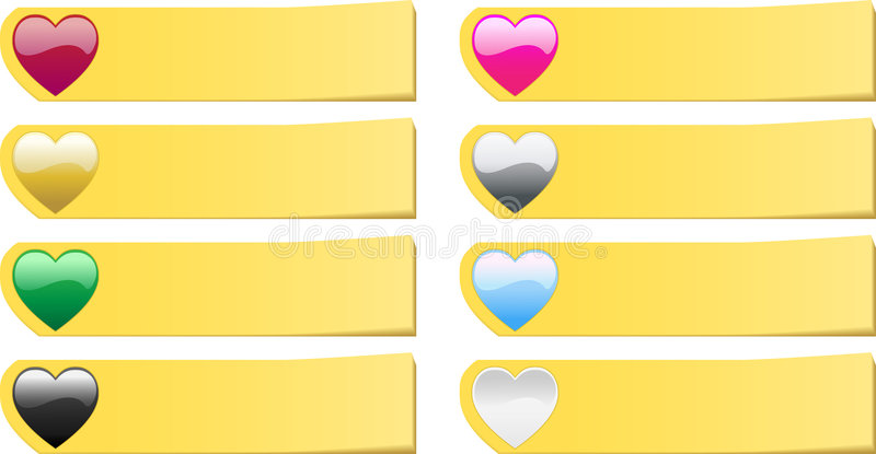 Set of 8 colored hearts post it stickers notes stock illustration