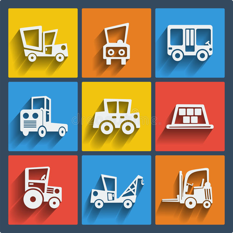 Set of 9 cars web and mobile icons. Vector. stock illustration