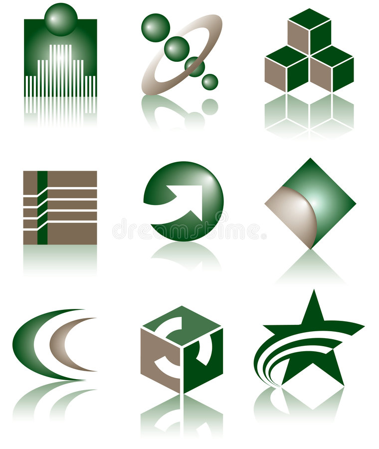 Set of 9 Logos stock photo
