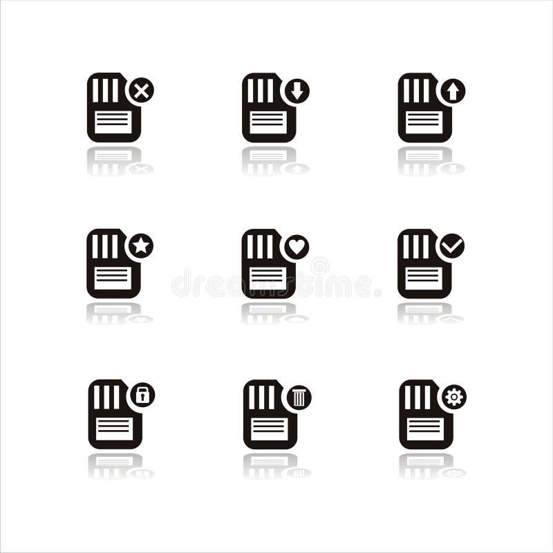 Set of 9 memory icons royalty free illustration