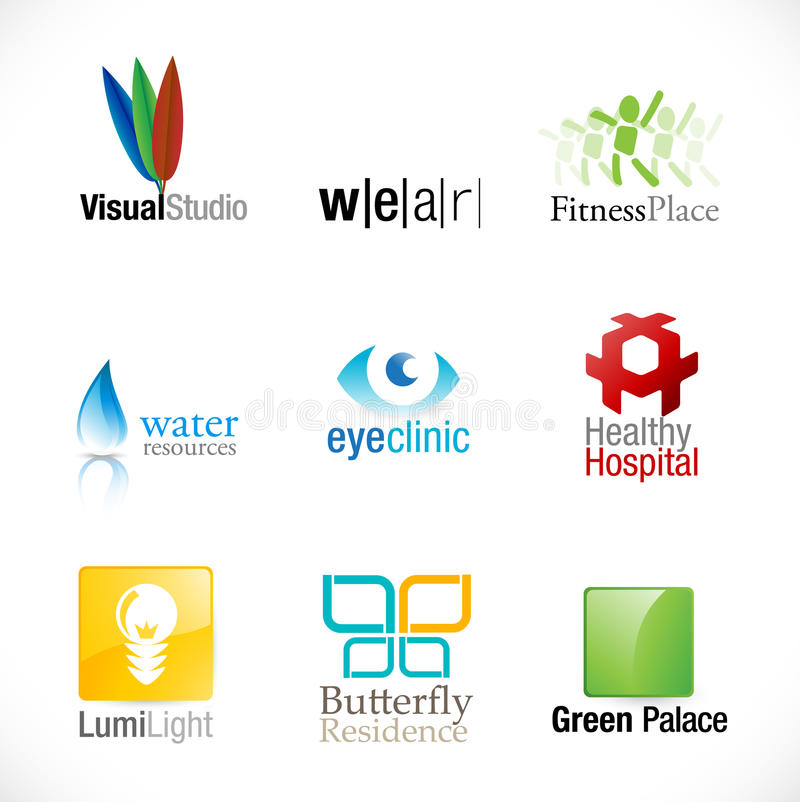 Download Set of 9 new logotypes stock vector. Image of colors - 10634314