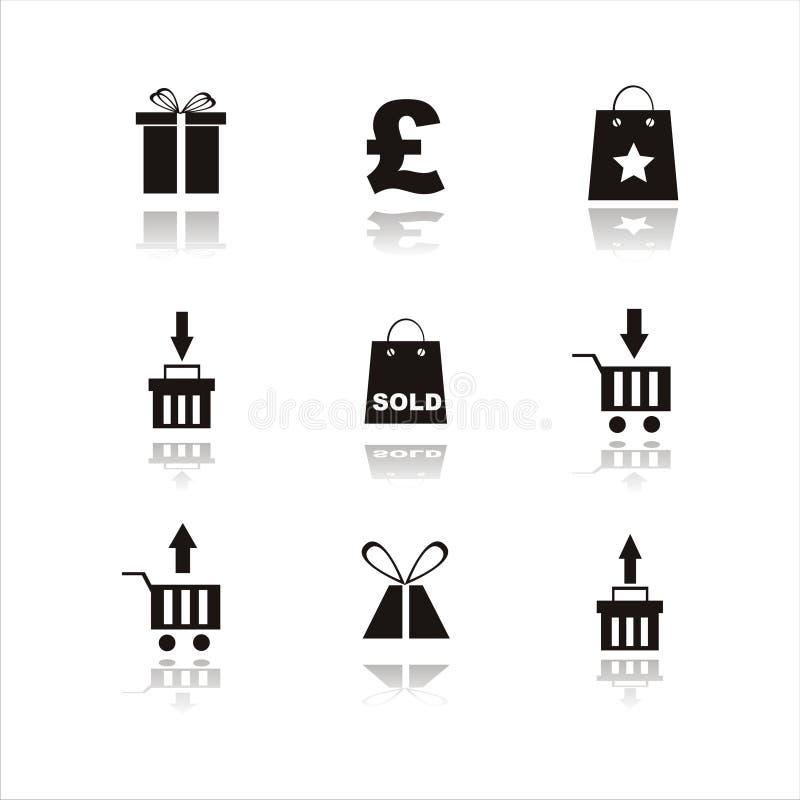 Set of 9 shopping icon royalty free stock photos