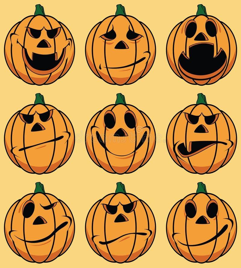 Download Set Of 9 Smiley Pumpkin Faces Stock Vector - Image: 16424165